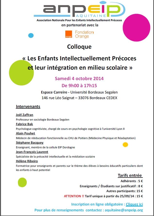 Colloque « Les Enfants Intellectuellement Précoces et leur intégration en milieu scolaire »